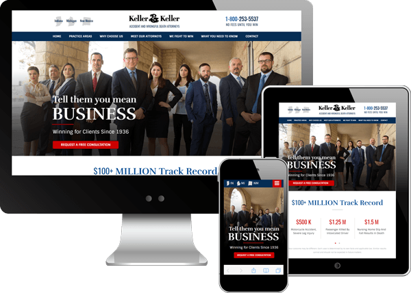 Multi-device view of Keller and Keller's website