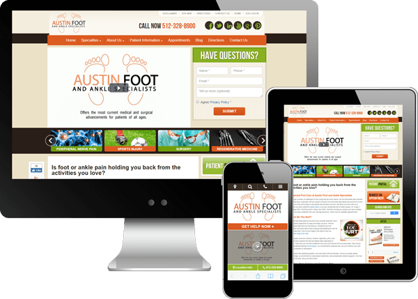 Multi-device view of Austin Foot and Ankle Specialists website