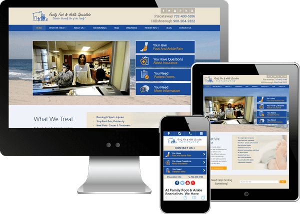 Multi-device view of Family Foot and Ankle's website