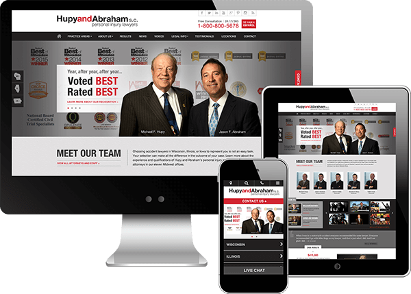 Multi-device view of Hupy and Abraham's website