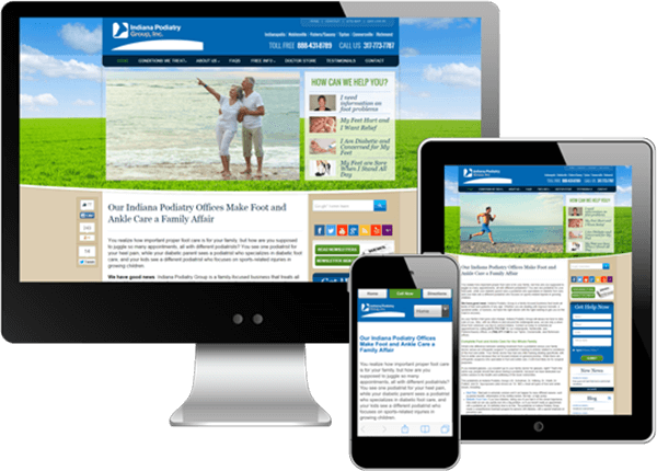 Multi-device view of Indiana Podiatry Group's website