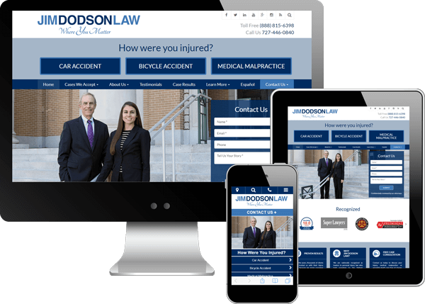 Multi-device view of Jim Dodson's website