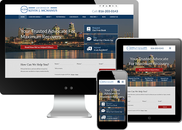 Multi-device view of Law Office of Kevin McManus website
