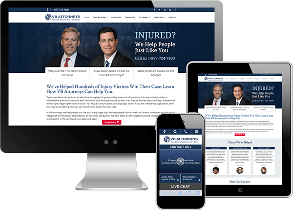 Multi-device view of VB Attorneys website