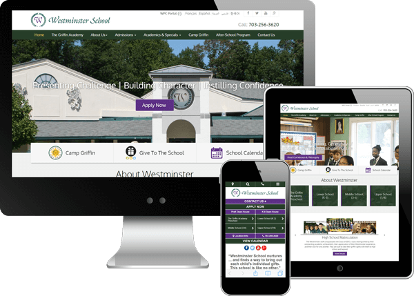 Multi-device view of Westminster School's website