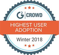 G2 highest user adoption winter 2018 badge